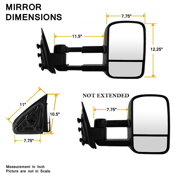2014 2015 2016 chevy silverado gmc sierra manual towing trailer mirror set l r ebay. Black Bedroom Furniture Sets. Home Design Ideas
