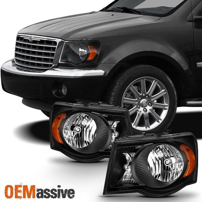 2007 2008 2009 Chrysler Aspen Black Headlights Headlamps