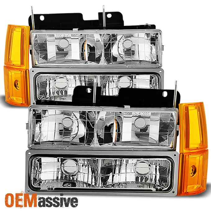 1994-1999 GMC C/K Pickup Suburban Sierra Clear Headlights