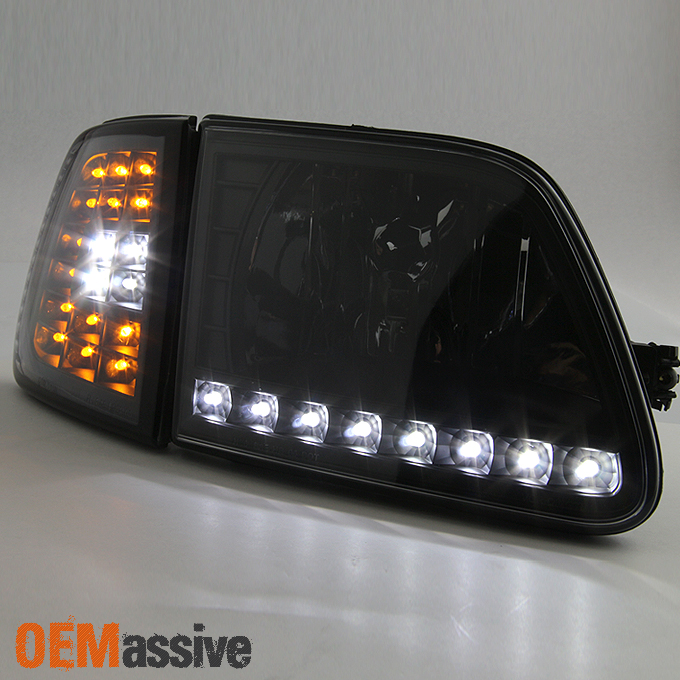 1997 2003 Ford F150 F 150 Expedition Black Led Headlights