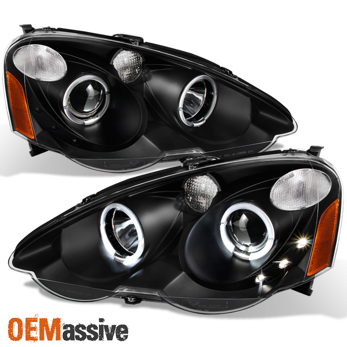 Acura Integra Headlights: 2002-2004 Acura RSX Integra DC5 Black Halo Projector LED