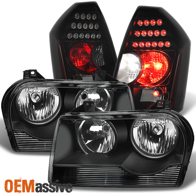 Chrysler 300 2006 Black Led Tail Lights: 2005-2010 Chrysler 300 Halogen Black Headlights + Black