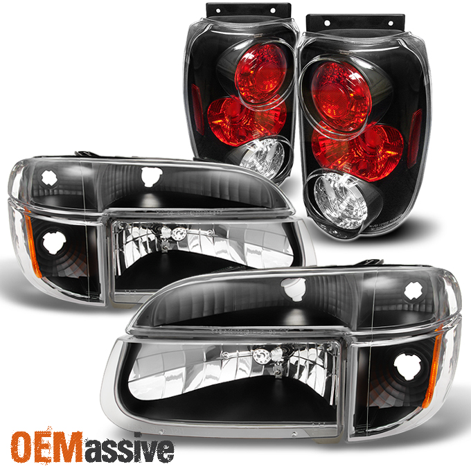 1995 1997 Ford Explorer 97 Mountaineer Black Headlights Tail Lights Replacement