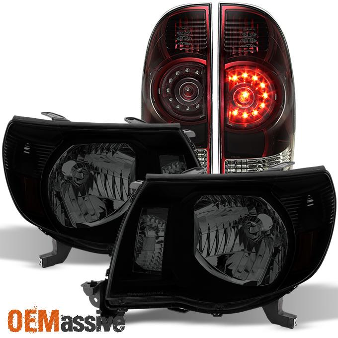 2005 2011 toyota tacoma black smoked headlights dark red. Black Bedroom Furniture Sets. Home Design Ideas