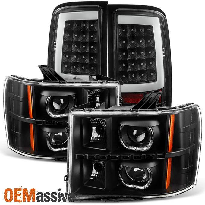 2007 2013 Gmc Sierra Black Led Halo Projector Headlights