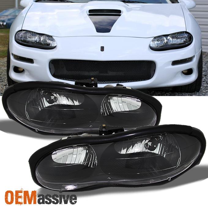 Black 1998 2002 chevy camaro replacement headlights for 2002 camaro window motor replacement