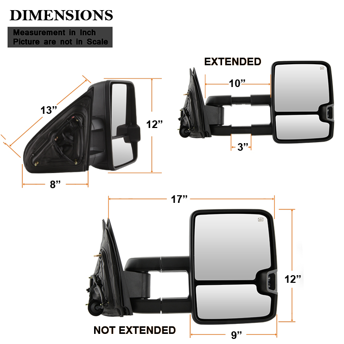 Exterior Accessories Perfit Zone TOWING MIRROR Replacement Fit For ...