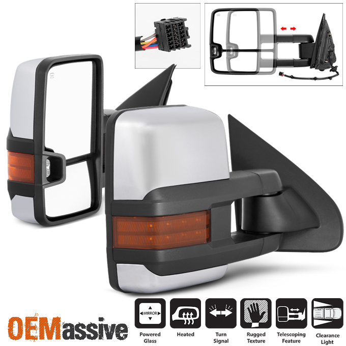 Chrome Mirror Cap Covers for 2014-18 Chevy Silverado//GMC Sierra 1500 Does not fit Towing Mirrors 2 Piece Set