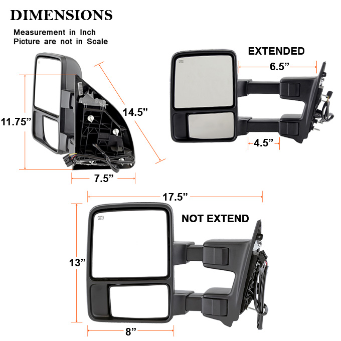 08-15 F250 SuperDuty Power Heated Extendable Towing Mirror