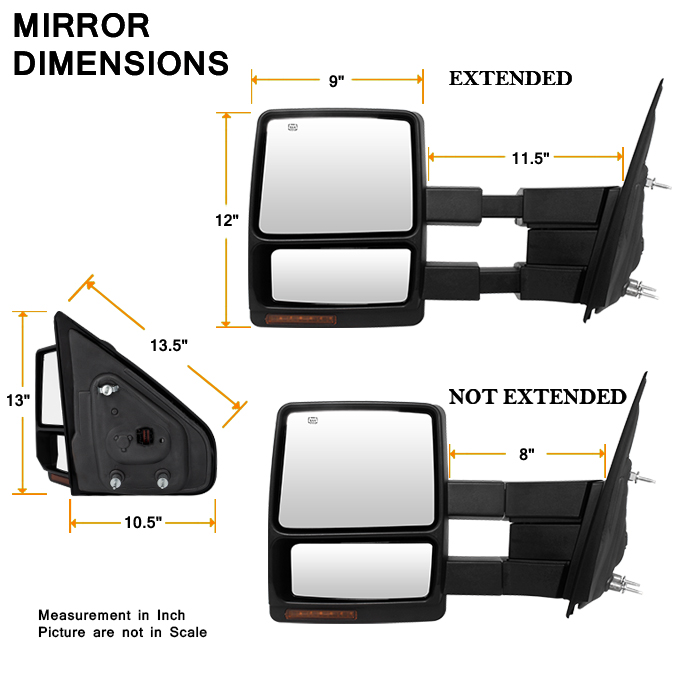 fit 2004 2006 ford f150 pickup extendable led turn signal power towing mirror 840960192724 ebay. Black Bedroom Furniture Sets. Home Design Ideas