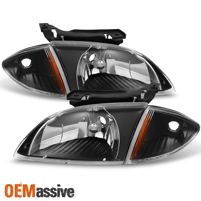Fit 2000 2001 2002 Chevy Cavalier Black Headlights W