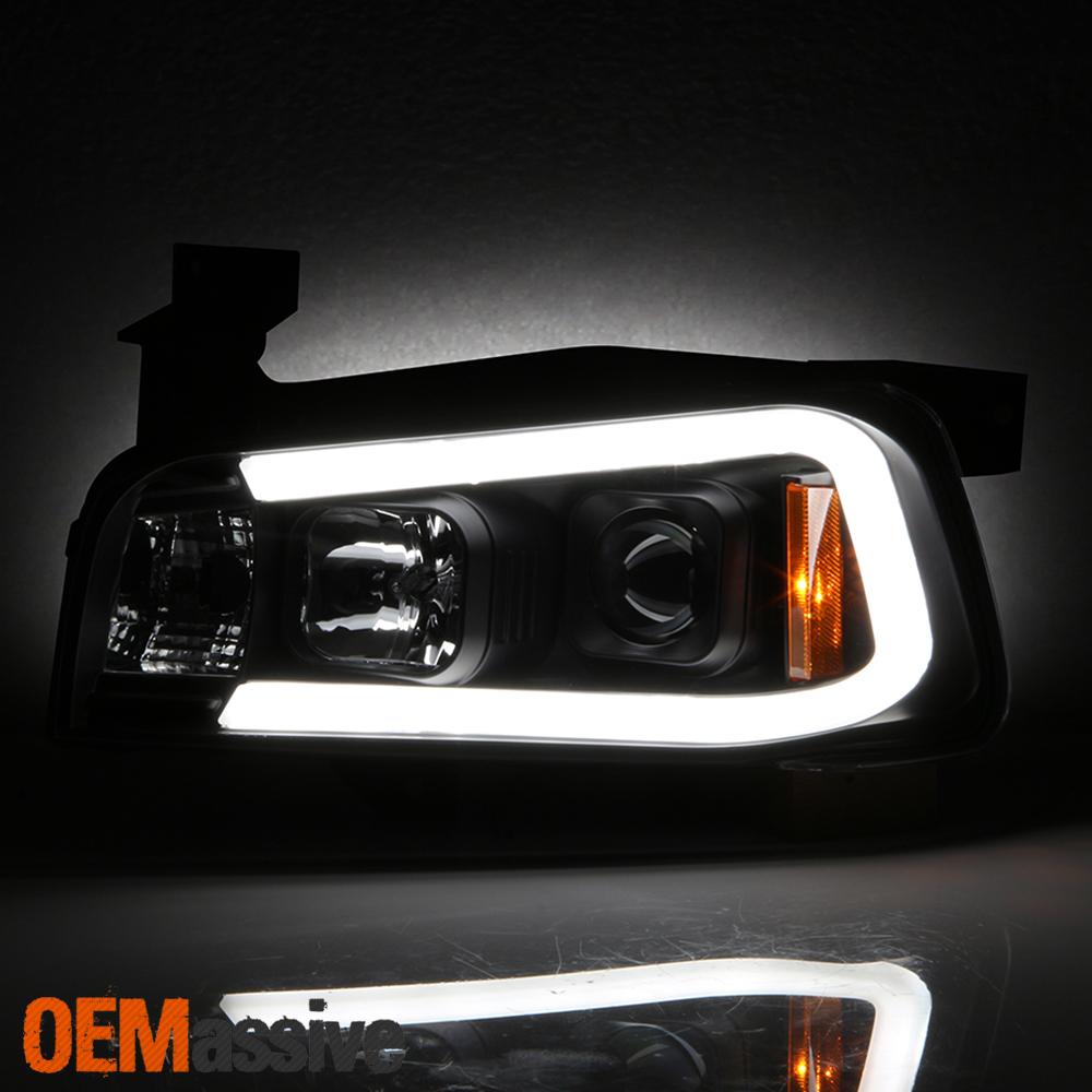 Halogen Fits 2006-2010 Dodge Charger Sedan Black DRL LED Projector Headlights