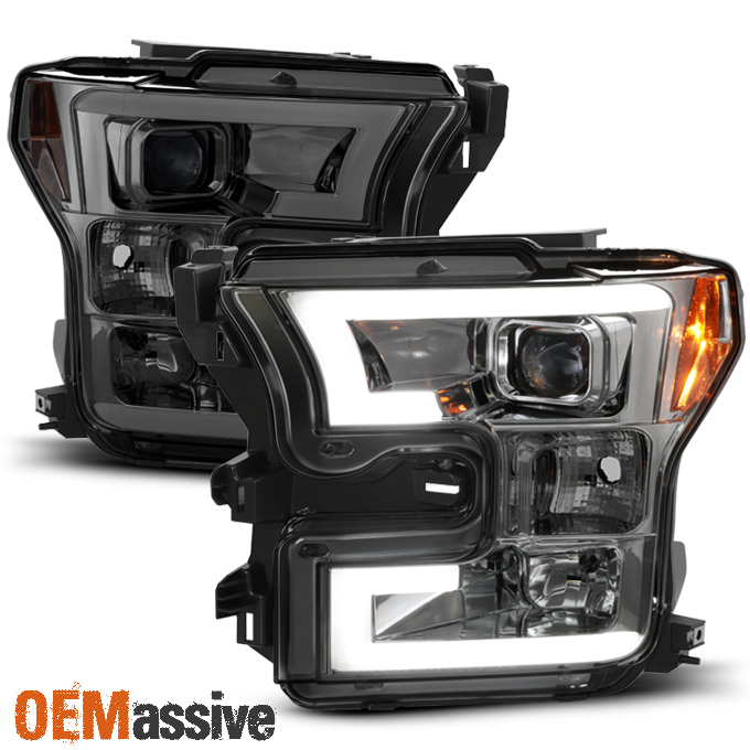 2015 2016 2017 ford f150 f 150 smoked drl led light tube projector headlights ebay. Black Bedroom Furniture Sets. Home Design Ideas