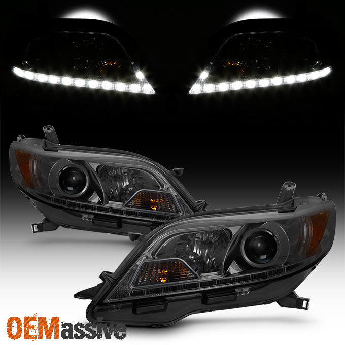 Details About Upgrade Fits 11 17 Toyota Sienna Smoked Led Drl Projector Headlights Headlamps