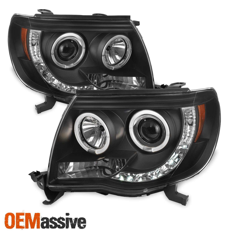 Toyota Tacoma Headlights: Fits 2005-2011 Toyota Tacoma Black Halo Projector LED