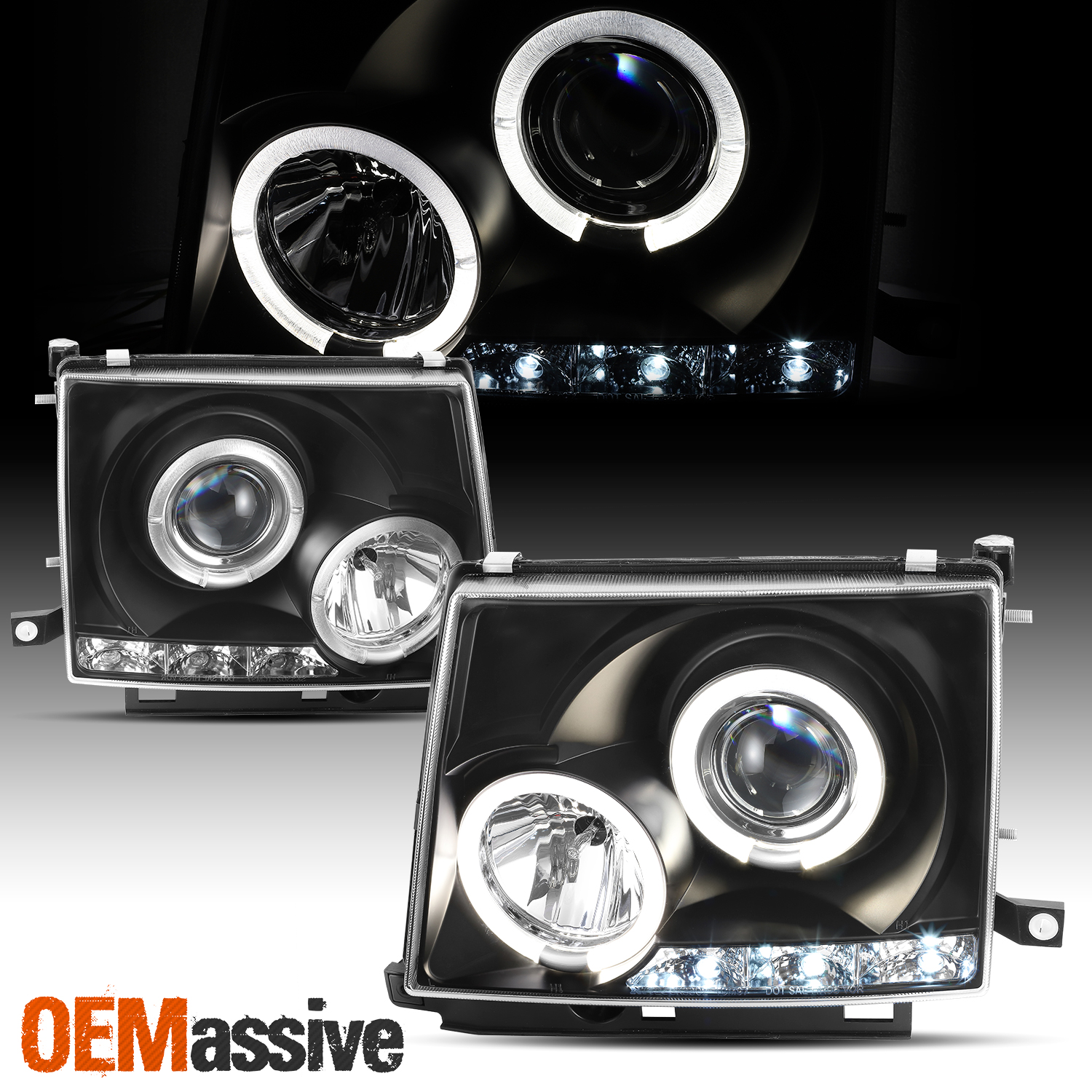 97-00 TOYOTA TACOMA TWIN HALO LED JDM PROJECTOR HEADLIGHT CLEAR PICKUP TRUCK 2DR