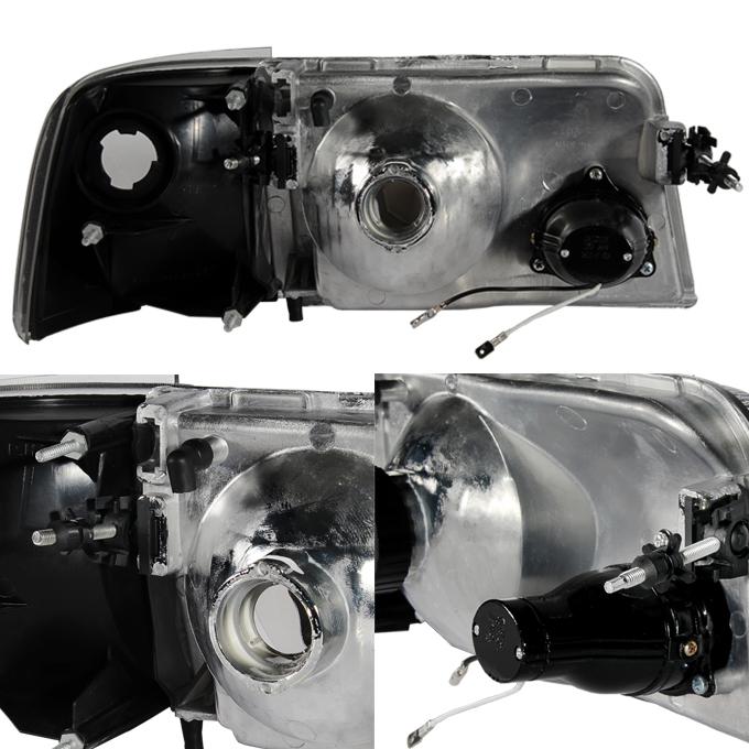 Fit 93-97 Ford Ranger Black Headlights+Corner Signal Lights w//Build-in Fog Light