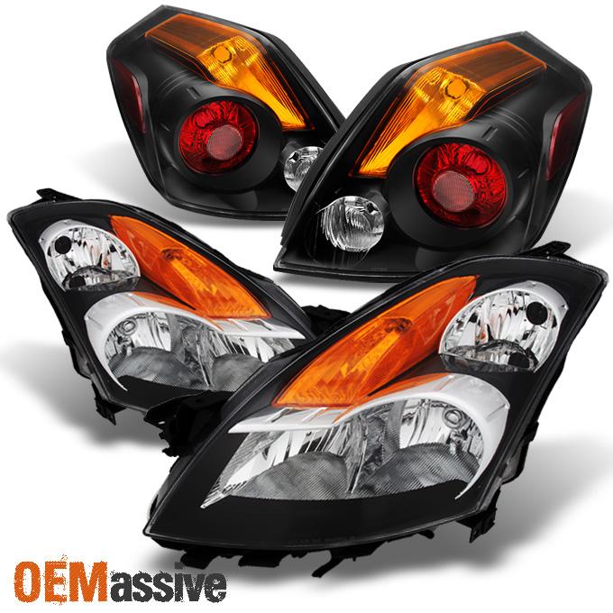 For 07-09 Altima Sedan Black Housing Amber Reflector Clear Lens Headlights