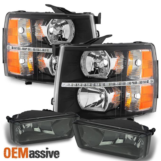 Fit 2007-2013 Chevy Silverado 1500 2007-2014 2500HD 3500HD Black LED Headlights