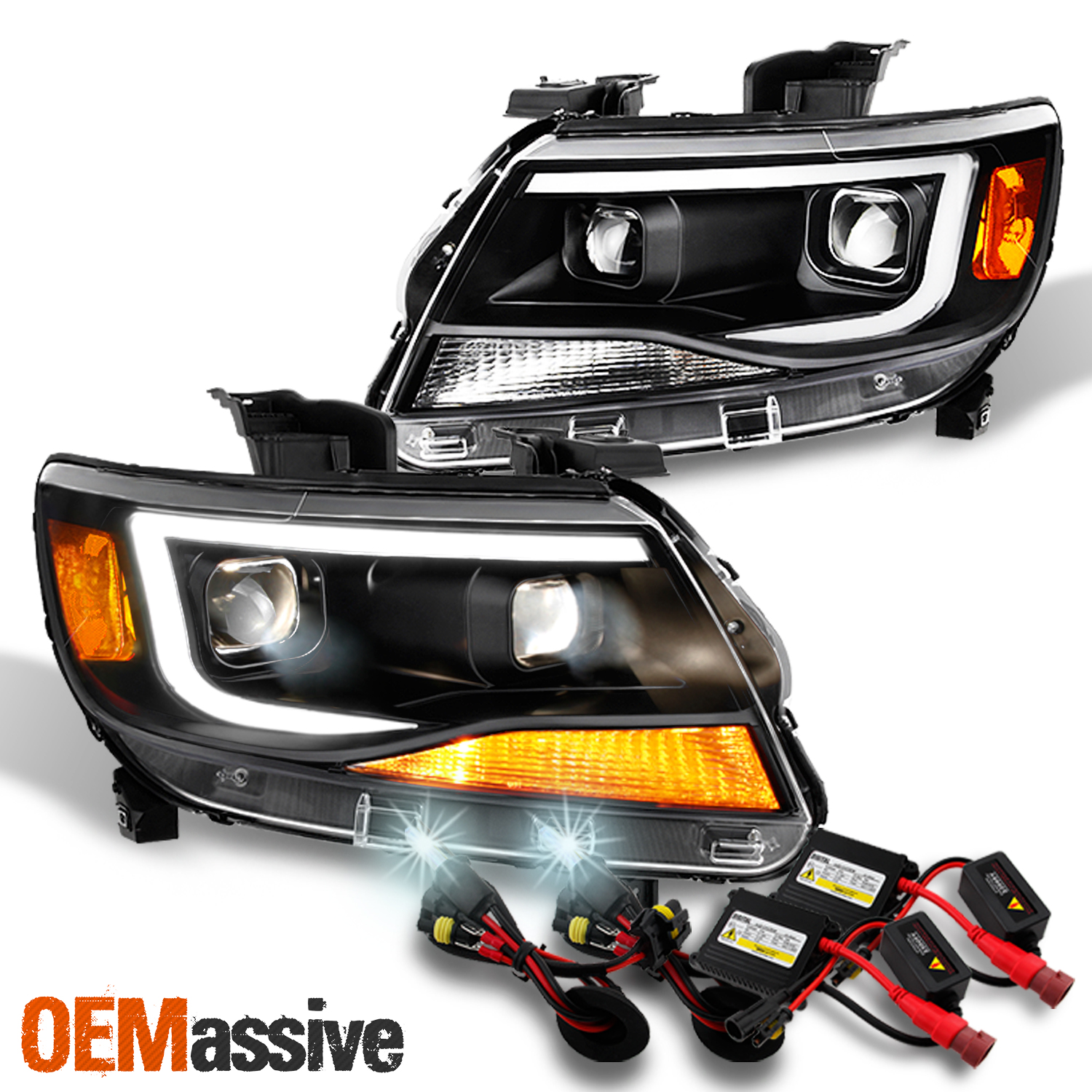 6000K HID XENON+FACTORY OE BLK HEAD LIGHTS SIGNAL LAMPS AMBER DY 15-17 FORD F150