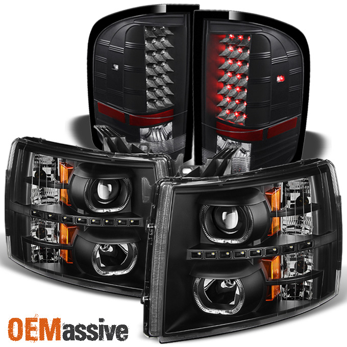 For 07-13 Silverado Black Headlights Blk LED Perform Tail Lights