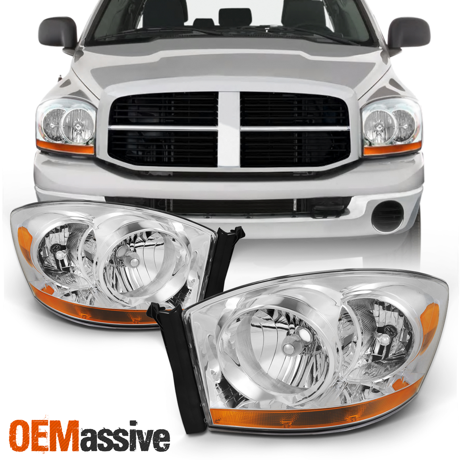 Details About Fit 2006 2007 2008 Dodge Ram 1500 2500 3500 Replacement Headlights Left Right