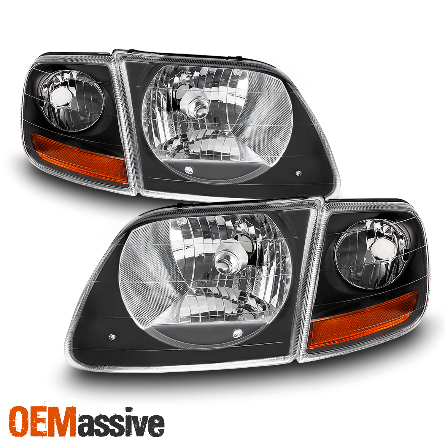 Details About Black 1998 2002 Expedition 1997 2003 F 150 Headlights Signal Lights Set