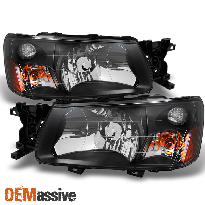 Fit 2003 2004 Subaru Forester Sg Black Bezel Headlights Headlamps Replacement